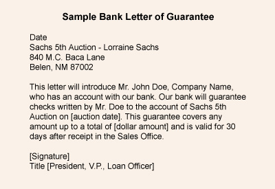 Example of letter of guarantee selol ink example altavistaventures Images